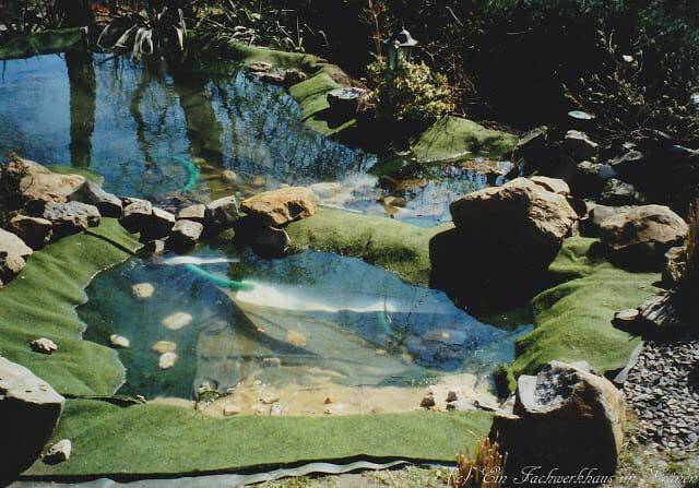 Der Gartenteich mit Wasser.