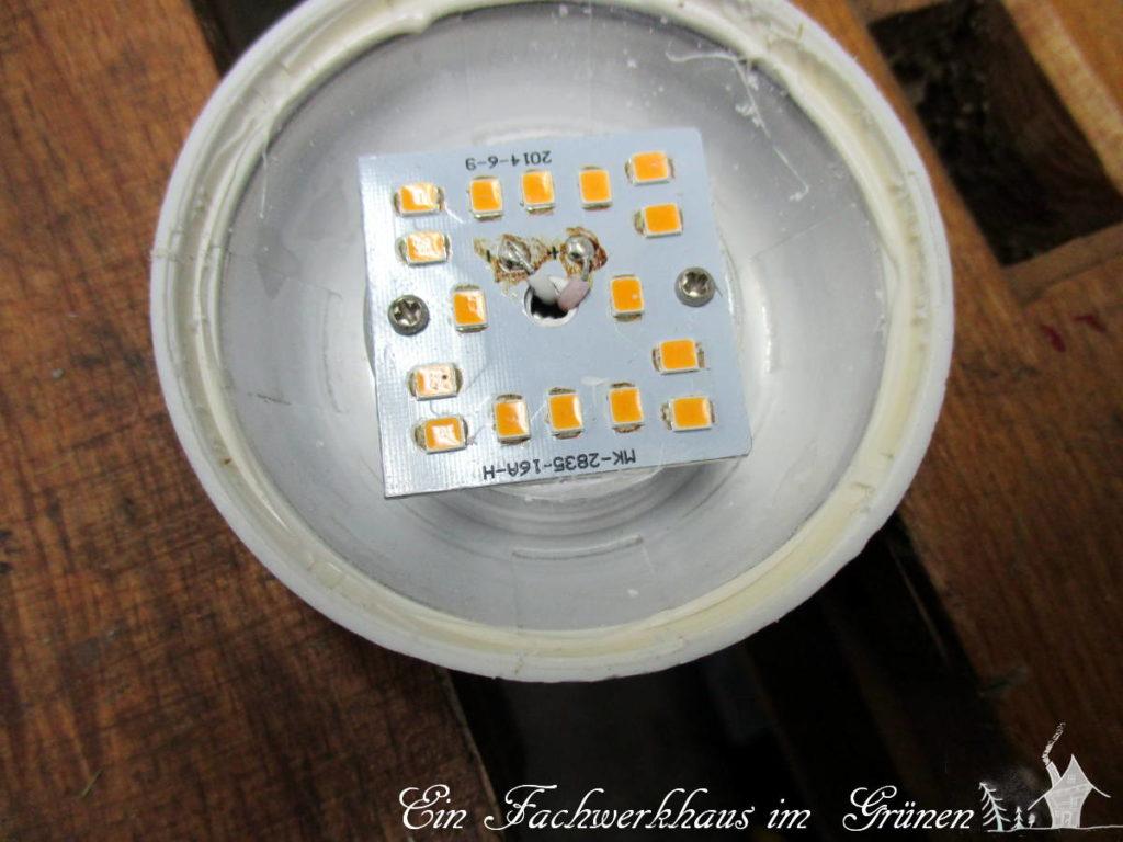 Die Platine, auf der die LEDs sitzen.