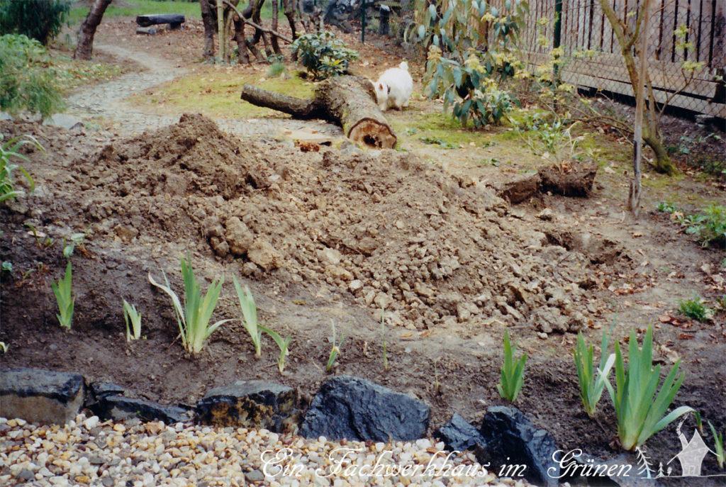 Mit dem Aushub aus den Wegen, gestalten wir Hügel im Garten.